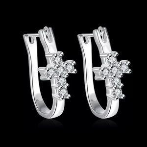 Jewelry - 925 STERLING SILVER CRYSTAL CROSS DANGLE EARRINGS
